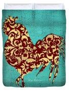 Elegant Decorative Kitchen Art Damask Rooster Pattern Duvet Cover by Megan Duncanson
