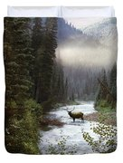 Elk Crossing Duvet Cover by Leland D Howard