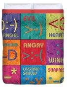 Emoticons Patch Duvet Cover by Debbie DeWitt