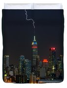 Empire State Building Lightning Strike I Duvet Cover by Clarence Holmes
