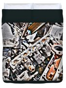Engine For Parts - Automotive Recycling Duvet Cover by Crystal Harman