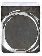 Enso No. 107 Gray Brown Duvet Cover by Julie Niemela