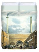 Entrance Of The Railway At Edge Hill Duvet Cover by Thomas Talbot Bury