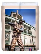Ernie Banks Statue At Wrigley Field  Duvet Cover by Paul Velgos