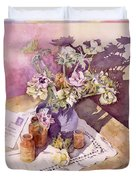 Evening Anemones Duvet Cover by Julia Rowntree