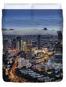 Evening City Lights Duvet Cover by Ron Shoshani