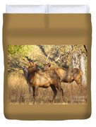 Evening Sets On The Elk Duvet Cover by Robert Frederick