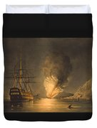 Explosion Of The Uss Steam Frigate Missouri Duvet Cover by War Is Hell Store