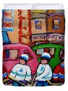 FAIRMOUNT BAGEL STREET HOCKEY GAME Duvet Cover by CAROLE SPANDAU
