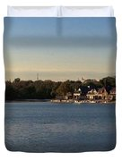 Fairmount Dam And Boathouse Row Duvet Cover by Photographic Arts And Design Studio