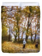 Fall Stroll Duvet Cover by Barry Jones
