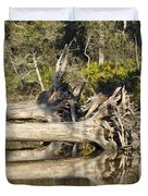 Fallen Trees Reflected in a Beach Tidal Pool Duvet Cover by Bruce Gourley