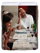 Family Around The Sedder Table Duvet Cover by Ilan Rosen