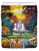 Family At The Jungle Pool Duvet Cover by Jan Patrik Krasny