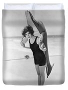 Fanny Brice And Beach Toy Duvet Cover by Underwood Archives