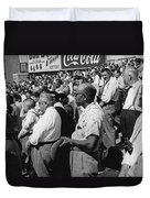 Fans At Yankee Stadium Stand For The National Anthem At The Star Duvet Cover by Underwood Archives