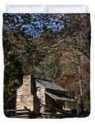 Farm Cabin Cades Cove Tennessee Duvet Cover by Douglas Barnett