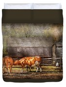 Farm - Cow - A Couple Of Cows Duvet Cover by Mike Savad