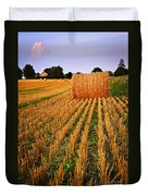 Farm Field With Hay Bales At Sunset In Ontario Duvet Cover by Elena Elisseeva