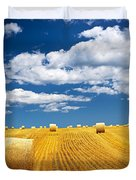 Farm field with hay bales Duvet Cover by Elena Elisseeva
