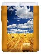 Farm Field With Hay Bales In Saskatchewan Duvet Cover by Elena Elisseeva