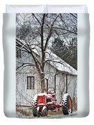 Farmall Tractor in Winter Duvet Cover by Timothy Flanigan