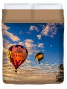 Farmer's Insurance Hot Air Ballon Duvet Cover by Robert Bales