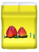 Farmers Working Around Strawberries Duvet Cover by Paul Ge