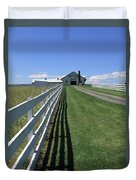 Farmhouse And Fence Duvet Cover by Frank Romeo