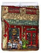 Fat Hen Grocery Painted Duvet Cover by Steve Harrington