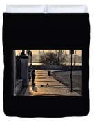 Feeding The Birds At Dawn Duvet Cover by Bill Cannon