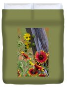 Fenceline Wildflowers Duvet Cover by Robert Frederick