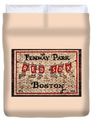 Fenway Park Boston Redsox Sign Duvet Cover by Bill Cannon