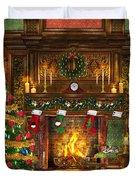 Festive Fireplace Duvet Cover by Dominic Davison