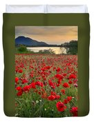 Field Of Poppies At The Lake Duvet Cover by Guido Montanes Castillo