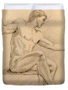 Figure On A Rock Duvet Cover by Sarah Parks