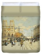 Figures On A Sunny Parisian Street Notre Dame At Left Duvet Cover by Eugene Galien-Laloue