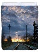 Fire On The Horizon Duvet Cover by Eti Reid