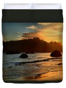 Fire Over Trinidad Beach Duvet Cover by Adam Jewell