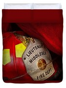 Fireman - Hat - Everyone Loves Red Duvet Cover by Mike Savad