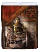 Fireman - Steam Powered Water Pump Duvet Cover by Mike Savad