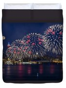 Fireworks And Full Moon Over New York City Duvet Cover by Susan Candelario