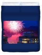 Fireworks In The City Duvet Cover by Nancy Harrison