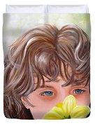 First Daffodil Duvet Cover by Carol Allen Anfinsen