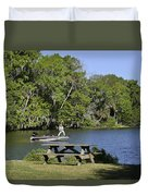 Fishing At Ponce De Leon Springs Fl Duvet Cover by Christine Till