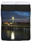 Fishing At Soundside Park In Surf City Duvet Cover by Mike McGlothlen
