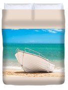 Fishing Boat On The Beach Algarve Portugal Duvet Cover by Amanda And Christopher Elwell