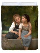 Fishing For Frogs Watercolor Version Duvet Cover by William Bouguereau