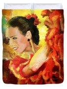 Flamenco Dancer 027 Duvet Cover by Catf