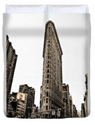 Flat Iron Building In Sepia Duvet Cover by Bill Cannon